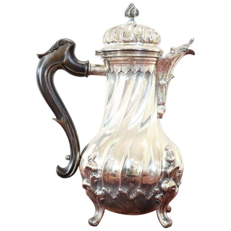 20th Century Italian Baroque Style Silver 800 Coffee Pot
