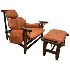 Jean Gillon 1960s Gran Captain Leather and Mahogany Armchair and Ottoman