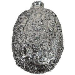 Gorham Turn-of-the-century Sterling Silver Rose and Cherub Flask