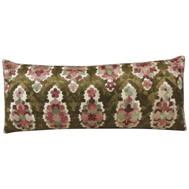 19th Century Embroidery Red and Brown Moroccan Decorative Bolster Pillow