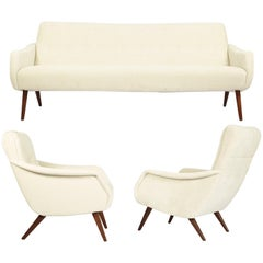 Rare and Highly Elegant Sofa Set with Two Matching Armchairs, Denmark, 1960s