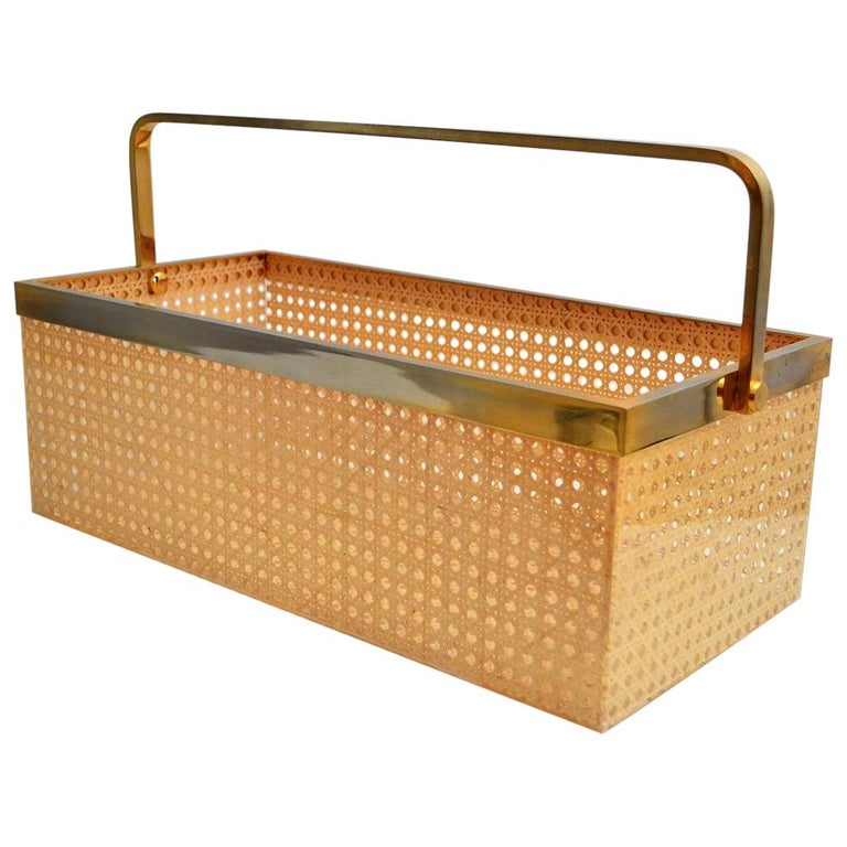 Italian Regency Lucite with Rattan and Gold-Plated Magazine Rack, 1970s For Sale