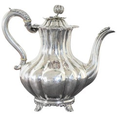 19th Century English Victorian Newcastle Silver Teapot, circa 1838