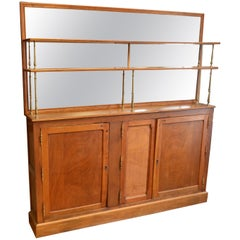 French Oak Back Bar, circa 1910, with Two Shelves Backed by Mirror
