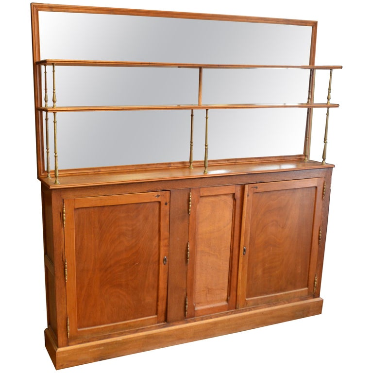 French Oak Back Bar Circa 1910 With Two Shelves Backed By Mirror For