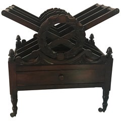 Late 19th Century Hand-Carved Mahogany Canterbury
