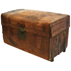 19th Century Leather and Brass Trunk Made in San Francisco, circa 1850-1890
