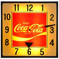 Unusual Pop Modernist Oversized 1970s Light Up Coca Cola Advertising Clock