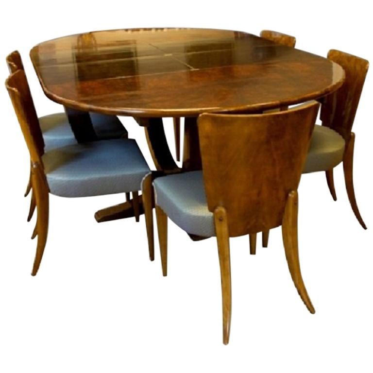 Jindřich Halabala Art Deco Dining Set In Walnut, 1930s For Sale