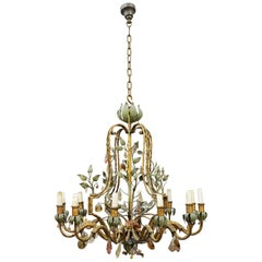 Maison Baguès Chandelier in Crystal and Gilt Wrought Iron, circa 1940