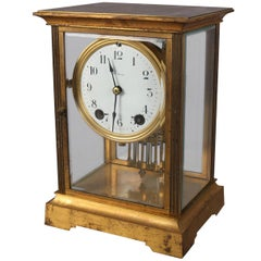 Antique Seth Thomas Gilt Crystal Regulator Mantel Clock, circa 1900