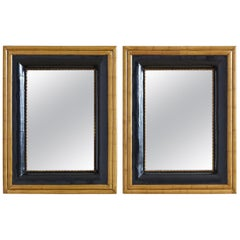 Pair of Portuguese Mirrors with Faux Bamboo Trim