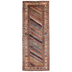 Antique NW Persian Kurdish Runner with Garden Design and Soft Colors