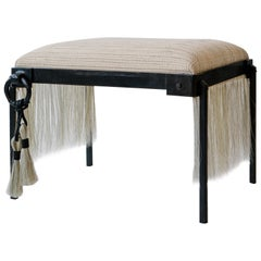 Handmade Horse Hair and Iron Stool/Bench by Alexandra Kohl and J.M. Szymanski