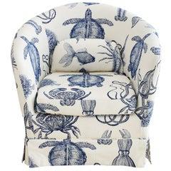 Blue and White Sea Life Nautical Club Chair