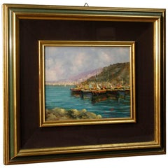 Italian Signed Seascape Oil on Canvas Painting from 20th Century