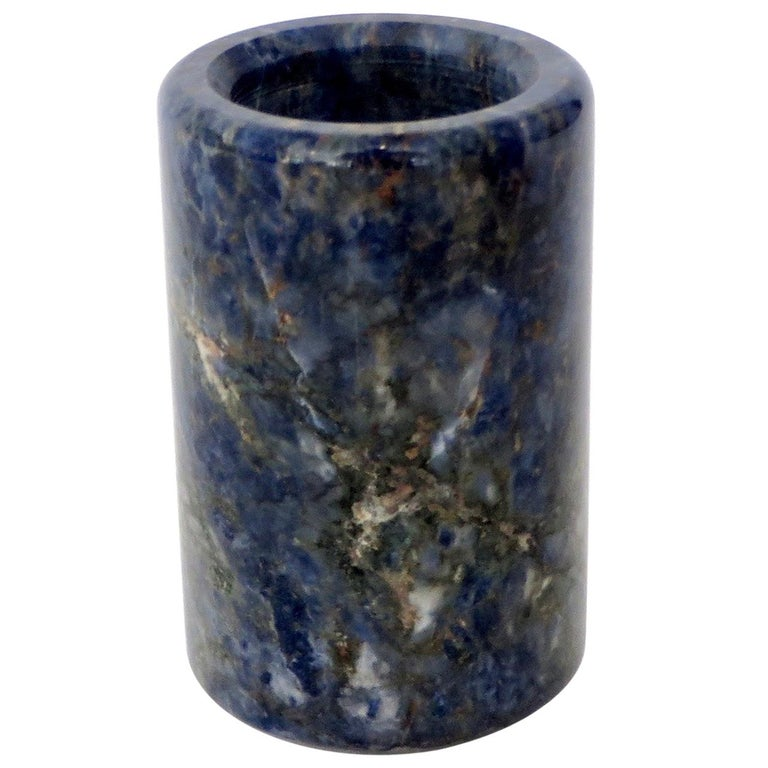 Small Cylinder or Candleholder in Blue Marble For Sale