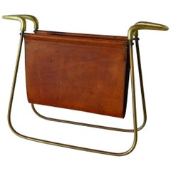 Carl Auböck Leather and Brass Magazine Holder