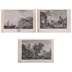 Three French Empire Maritime Etchings of Ships and Workers in Village Harbour