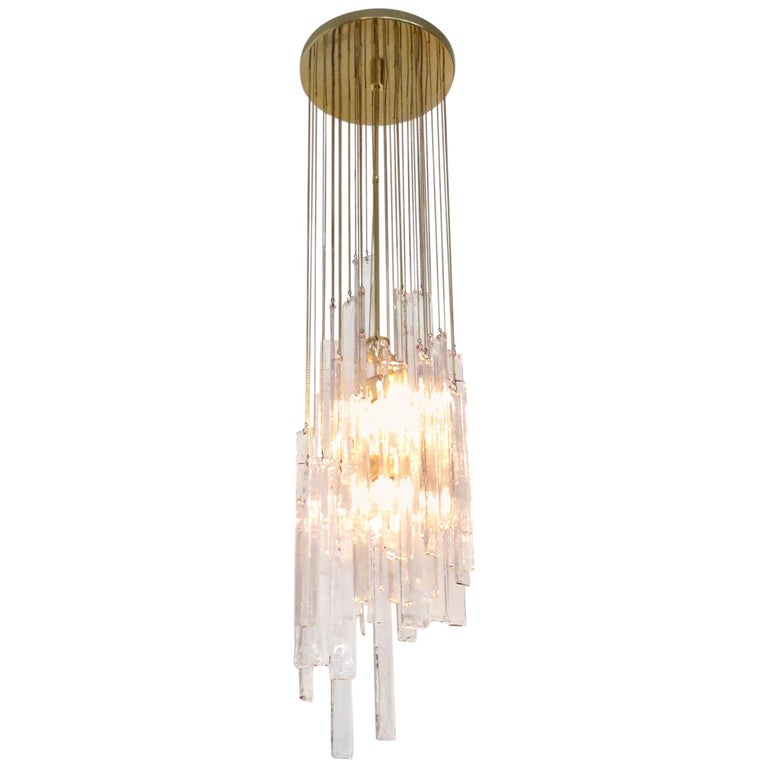 Mazzega Cascade Italian Murano Glass Extra Long Chandelier For Sale