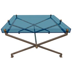 Steel and Blue Perspex Coffee Table