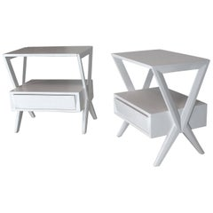 Mid-Century Modern White Lacquer One Drawer X-Bases End Tables Nightstands, Pair