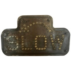 "Antique Industrial Traffic Control Road Sign ""SLOW"" Brass with Glass Reflectors"