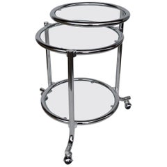 Rolling Chrome Bar Serving Cart with Chrome Rings