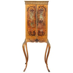 Antique French Vernis Martin Hand-Painted Giltwood Petite Cabinet, circa 1890