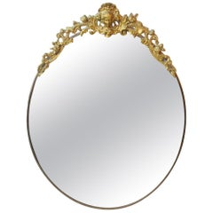 Oval Antique Wall Mirror in Brass, 1900s