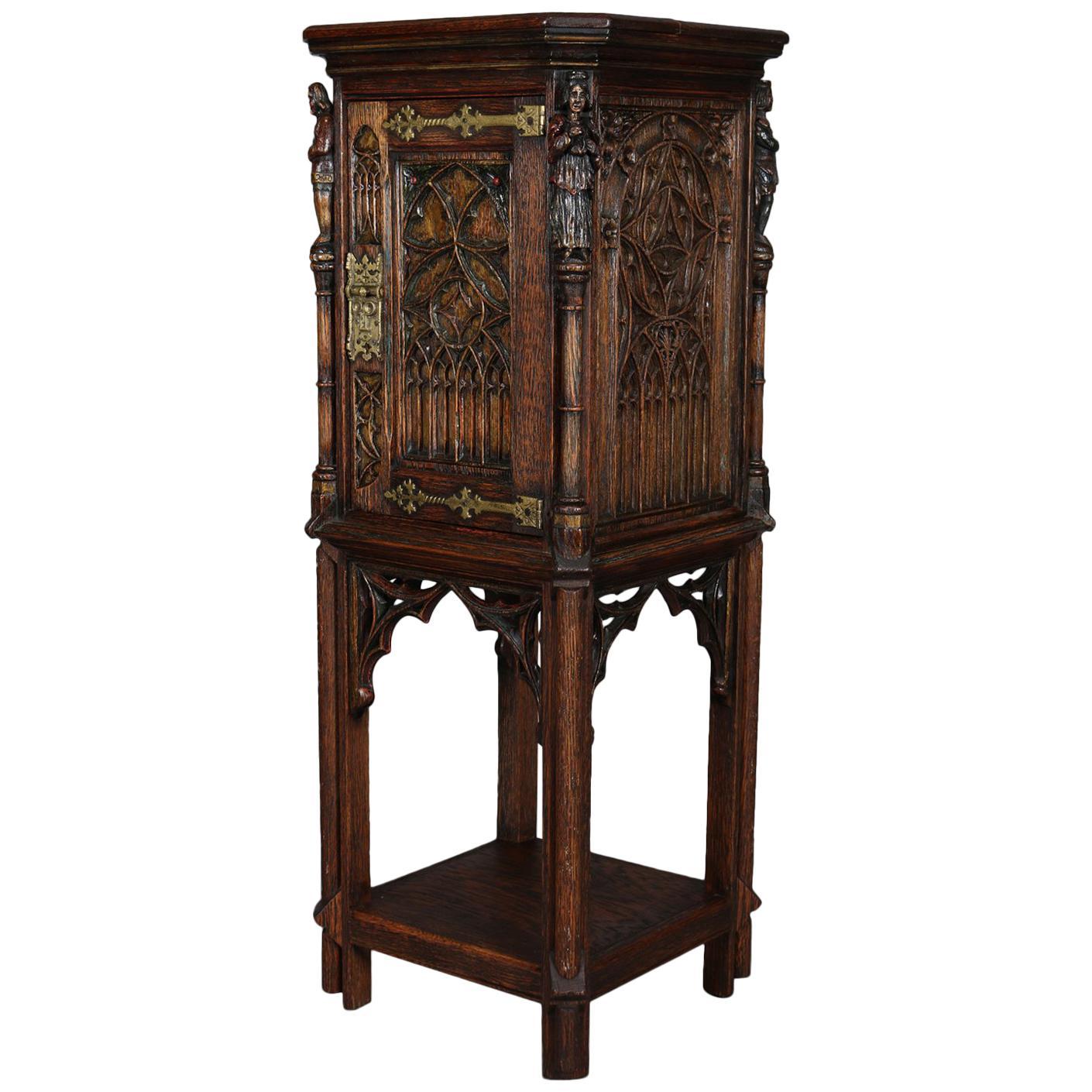 Delicieux Gothic Figural Carved Oak Polychromed And Gilt Cellarette Cabinet, Circa  1880