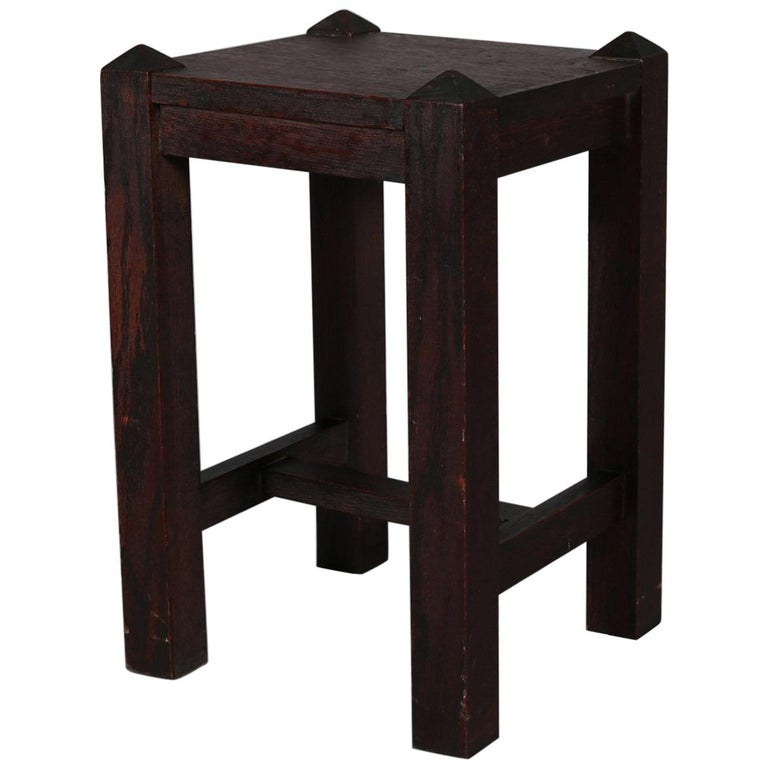 Antique Arts & Crafts Stickley School Mission Oak Plant Stand, circa 1910 For Sale