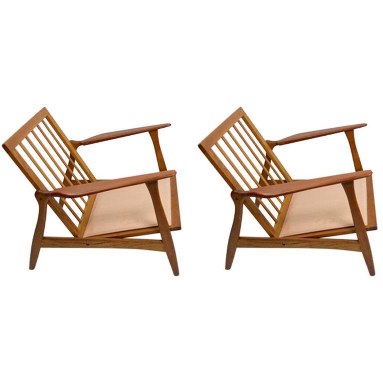 Pair of Arne Hovmand Olsen for Mogens Kold Lounge Chairs For Sale