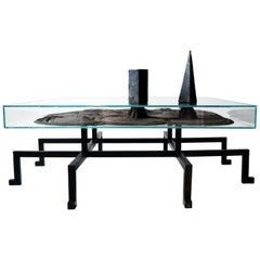 Kinetic Coffee Table in Carved Blackened Steel, Iron Powder and Magnetic Objects