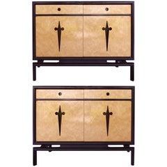 Edmund Spence Bird's Eye Maple Cabinets, Sweden, circa 1960