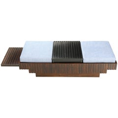 Brazilian Midcentury Bench in Jacaranda and Blue Fabric
