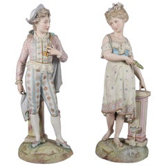 Oversized English Chelsea Hand-Painted and Gilt Bisque Porcelain Figures