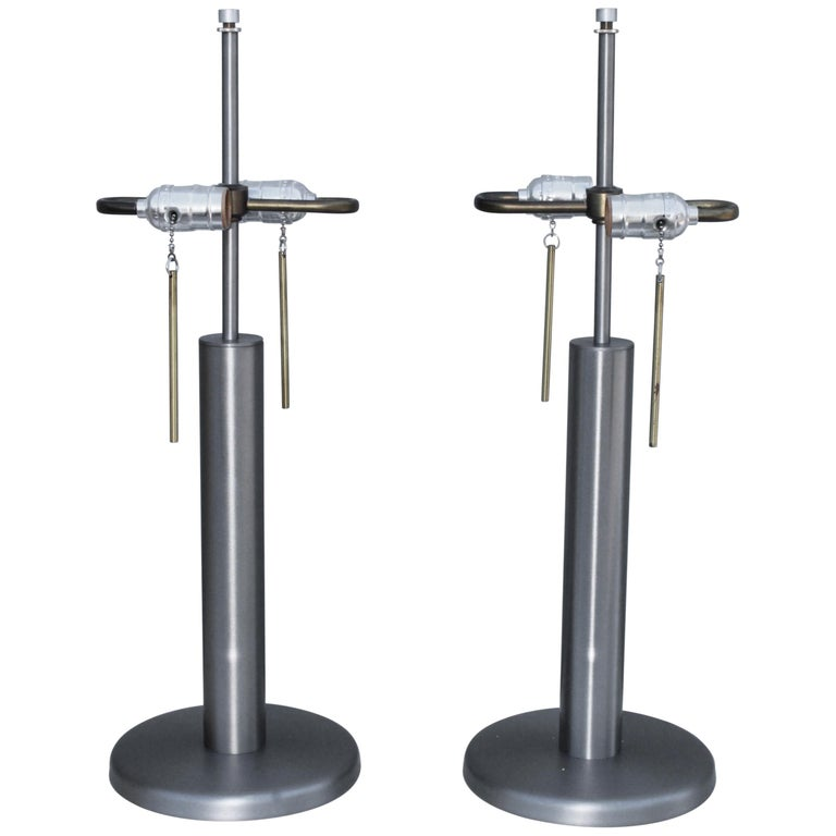 1970s Brushed Steel Table Lamps