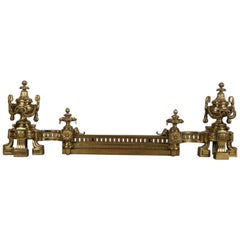 Antique French Empire Urn Form Brass Fireplace Guard with Chenets and Rail