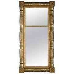 Antique American Empire Giltwood Trumeau Double Mirror, circa 1900