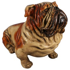 Lifesize Vintage Figural Advertising Painted Plaster Bulldog Sculpture
