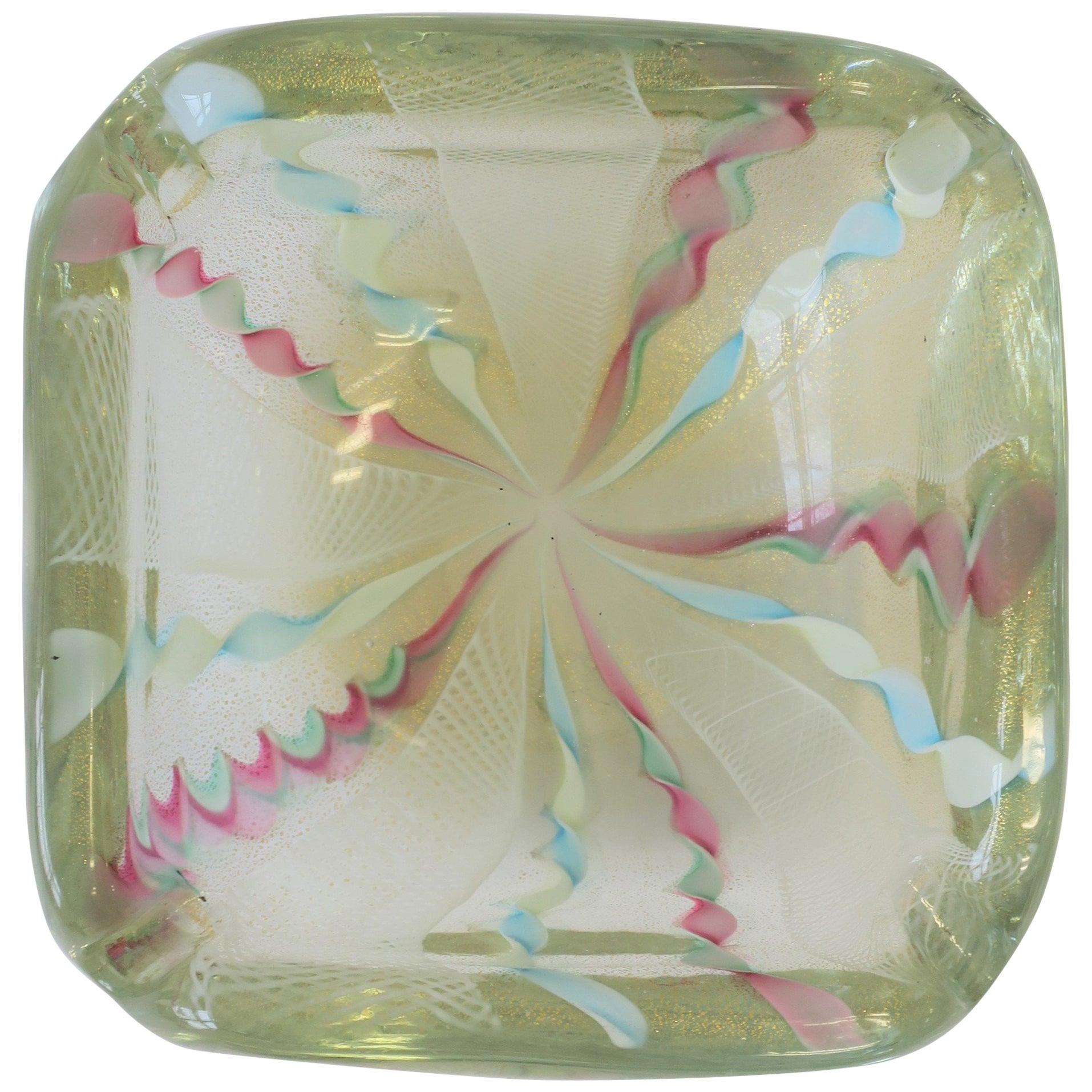 Italian Murano Fratelli Toso Pink Blue White & Gold Art Glass Bowl or Ashtray