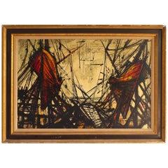 Mid-Century Modern Shipyard Oil Painting