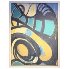 Large Abstract Modern Painting, Custom Framed