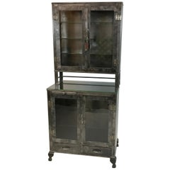 Industrial Brushed Steel Glass Front Apothecary Display Cabinet