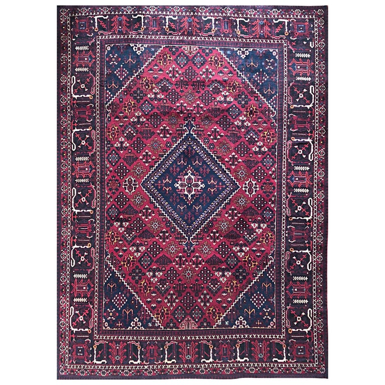 Persian Hand-Knotted Tribal Diamond Medallion Burgundy Joshaghan Rug