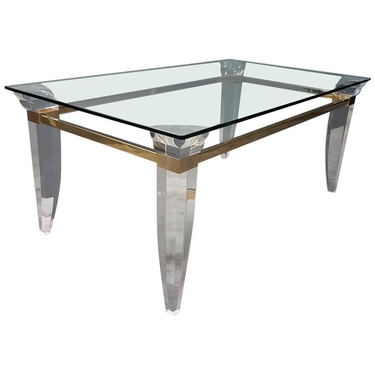 Lucite, Brass and Glass French Coffee Table, 1980s