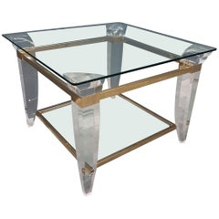 Lucite, brass and glass square coffee table or side table, 1980s