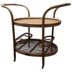 Bamboo Rattan Serving Trolley by Rohé Noordwolde, 1950s