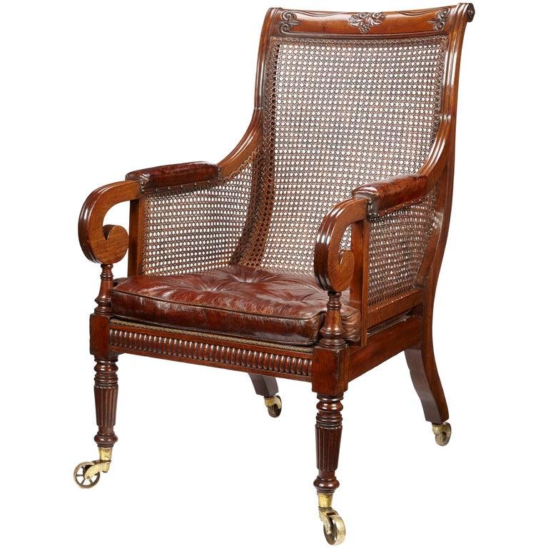 Regency Period Mahogany Library Chair